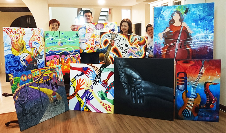 The 9 artworks created by Da Vinci Creative Kids students for OrphanCare�s fundraising auction.
